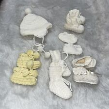Baby or Doll 11 pc Lot of Crochet Knit Hats & Booties White Yellow