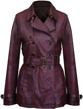 Women's 3/4 Brown Lamb Genuine Leather Retro Vintage Nappa Trench Jacket Coat
