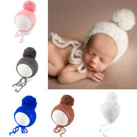 Photography Props Pom Pom Ball Newborn Infant Crochet Costume Baby Knitted Hat