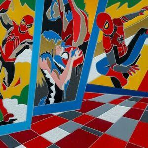 Ugo Nespolo,serigrafia,SpiderMan,Supereroi,35x35,PopArt