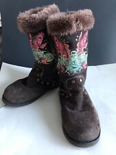 Womens Ed Hardy Boots Suede Size 5 Koi Design Faux Fur