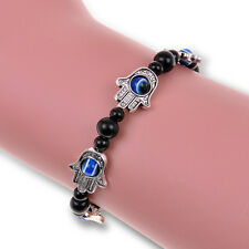 Beaded Charm Tibetan Silver Bracelet Jt32 Woman Blue Evil Eye Hamsa Fatima Hand