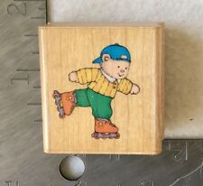 Rollerblading Bear Rubber Stamp Hero Arts C 720 Skate Rollerblade Sports Animal