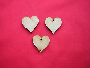 3cm / 30mm MDF HEART x 50 with no hole/1 hole/2 holes