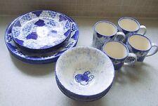 Poole Pottery Blue Vine Leaf Dinner Plates x 4