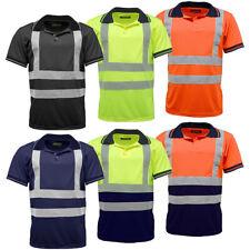 Hi Vis Polo Short Sleeve Reflective Plain T Shirt Plain & Two-Tone Work Top