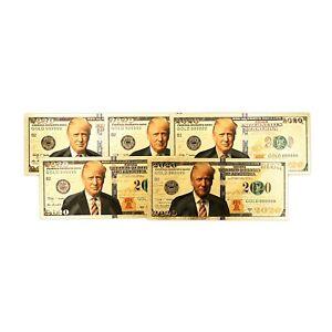 5 gold Trump USA 2020 notes fantasy paper money