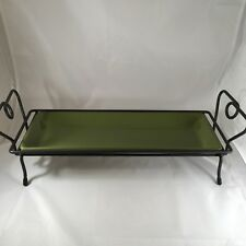 Pampered Chef Simple Additions Green Rectangular Tray With Metal Stand