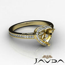 Diamond Engagement Filigree Ring Heart SemiMount Halo Pave 14k Yellow Gold 0.5Ct