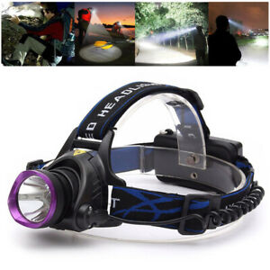 DC 12V 50000LM T6 LED Headlamp Headlight Torch Zoomable Lamp+ EU Charger Kits