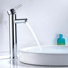 Modern Chrome Tall Bathroom Taps Basin Sink Mono Mixer Round Single Lever Tap UK