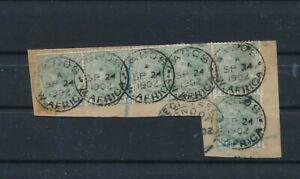D193825 Lagos QV Sc. 13 6 values on Paper 1902 Lagos Cancel