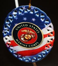 Military US Marines Red White & Blu Ceramic Christmas Ornament with box USA