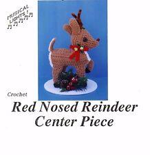 Crochet pattern red nose reindeer center piece christmas