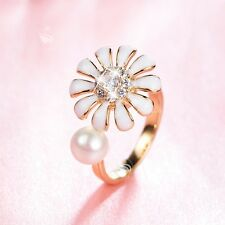 14K YELLOW GOLD MADE WITH SWAROVSKI CRYSTAL PEARL OPEN RING WHITE SPIN FLOWER