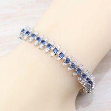 Blue Sapphire  and White Topaz Tennis Gemstone Bracelet Bangle 925  Silver