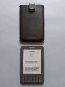 Amazon Kindle Keyboard 3rd Gen + Leather Pouch 4GB, Wi-Fi, 6in Screen (Unlocked)