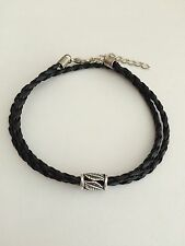 Mens Black Braided Leather Bracelet With Sterling Silver Beads And Clasp