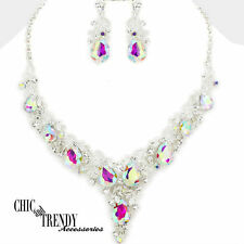 HIGH QUALITY AURORA BOREALIS CRYSTAL WEDDING FORMAL CHUNKY NECKLACE JEWELRY SET