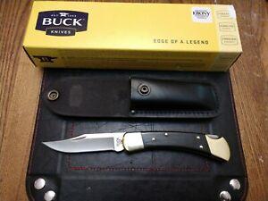 Buck Knife 110 Folding Hunter Leather Sheath Ebony Wood Handle 110BRS