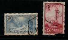 Valleys of Andorra 1932 40c Bridge and 50c Church SGF34, F38 Used see note