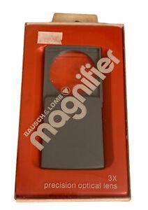 Vintage Bausch & Lomb 3X Packette Magnifier 81-23-32 Pocket Pop out Lens Gray