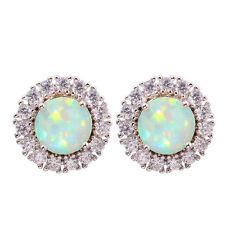 Jewelry Gemstone Stud Earrings 14mm Oh3959 Green Fire Opal Zircon Silver Women