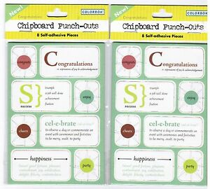 2 NEW Packs Colorbok CONGRATULATIONS Chipboard Punch Outs Stickers!