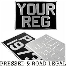 1x SQUARE Black Silver Pressed Number Plate Car Metal Classic Aluminium 300x200
