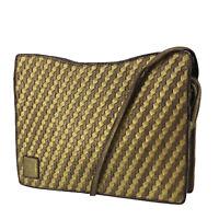 FENDI Logos Shoulder Bag Gold Brown Leather Italy Vintage Authentic #AB764 O