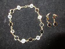 Australian Crystal Set Long Bracelet Earrings Gold Tone Black White Vintage CHIC