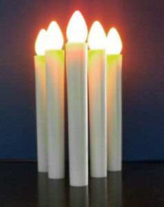 10 White Taper LED Battery Stick Candle Candleabra Wedding Table Room Decoration