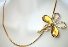 "NEW CHAIN NECKLACE FLOWER RHINESTONES CLASP PENDANT 17"" LONG"