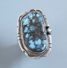 Navajo Sterling Silver Ring Inlaid with Large Morenci Turquoise Stone