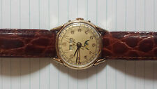 Leonidas Triple Date moon phase (pre Heuer) (pre 1950's) Gold Dial watch