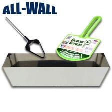 """12"""" Stainless Steel Drywall Mud Pan w/Mini Pan Mixer Blade and Mud Bucket Scoop"""