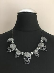 Butler and Wilson Pewter Crystal Pearl Skull Necklace Statement
