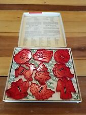 NIB Vintage Christmas Cookie Cutters Red Plastic Educational Products USA