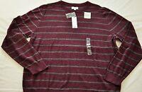 Men's SONOMA wine striped crew neck sweater size XL MSRP $45 cotton brand new
