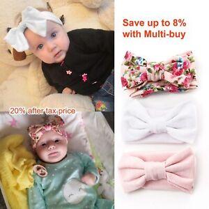 3Pcs Bowknot Headband Newborn Elastic Toddler Cotton Baby Print Floral Hairband