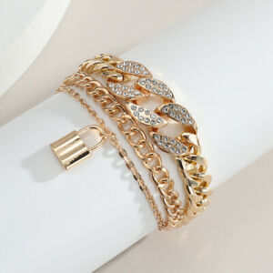 Classy Shiny Hip Hop Chain Inlaid Rhinestone Bracelet With Lock Charm