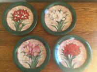 """SET OF 4 Certified International AMARYLLIS 8"""" Luncheon Plates by Judy Hand"""