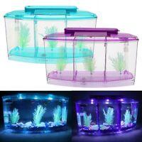 Mini Fish Tank Aquarium Fish Aquarium Tank LED Light Divider Filter Water
