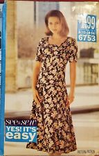 Butterick See & Sew pattern 6753 Misses'/Petite semi-fitted Dress sz 12, 14, 16