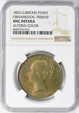 Great Britain 1853 Penny Ornamental Trident NGC Unc Details