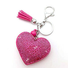 Pink Heart Pendant Key Ring Rhinestone Chain Crystal Handbag Purse Car Key Charm