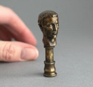 BRONZE Vintage JULIUS CAESAR Roman Leader PIPE TAMPER Miniature Sculpture SIGNED