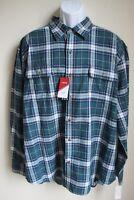 NWT Izod green blue plaid long sleeve shirt mens XXL