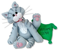 GRAY TABBY KITTY CAT Personalized Ornament Handmade Polymer Clay by Deb & Co