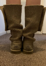 Ladies Beige Knitted Ugg Boots - Size 5.5